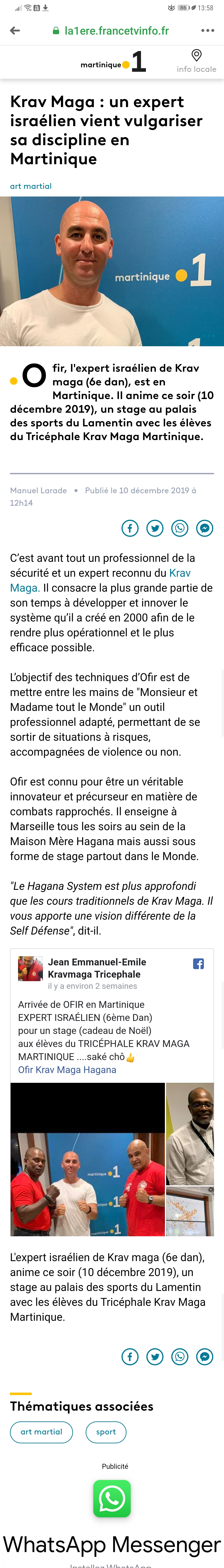 article hagana Martinique 1ere